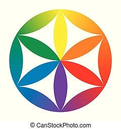 Flor de bebé de color arcoíris de la vida