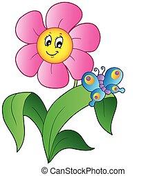 Flor de cartón con mariposa