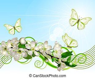 Flor de cereza con flores blancas