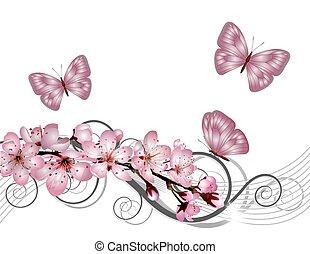Flor de cerezo florecida con flores rosas
