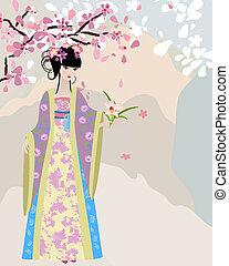 Flor de cerezo y una chica con traje nacional