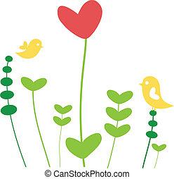 Flor de corazón con pájaros