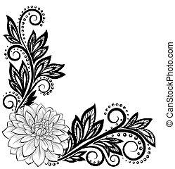 Flor de encaje negro y blanco en la esquina. Con espacio para tus mensajes y saludos
