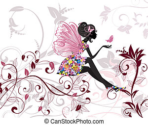 Flor de hada con mariposas
