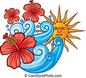Flor de hibisco rojo, mar y sol