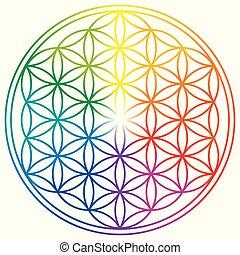 Flor de la vida en colores de arco iris