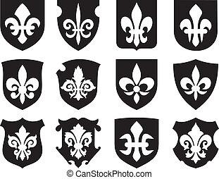 Flor de lirio y escudos medievales
