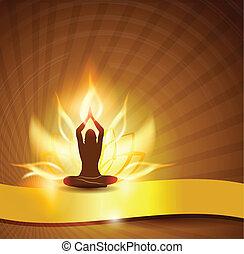 Flor de loto, fuego y yoga