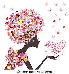 Flor de moda con un corazón de mariposas