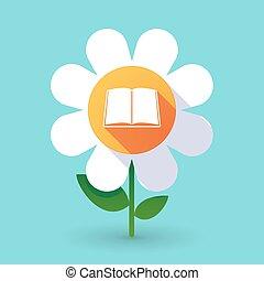 Flor de vector con un libro
