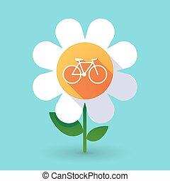 Flor de vector con una bicicleta