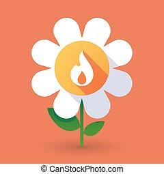Flor de vector con una llama