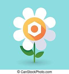 Flor de vector con una nuez