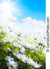 Flor de verano de primavera artificial abstracta en la hierba