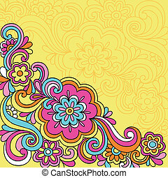 flor, doodles, psicodélico, cuaderno