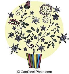 Flor en una olla