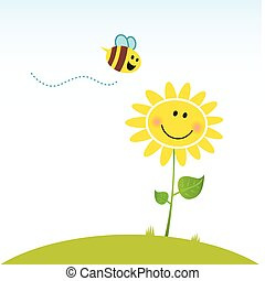 flor, feliz, primavera, abeja