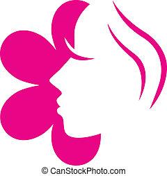 Flor femenina cara de icono rosado aislado en blanco.