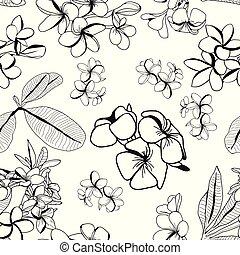 flor, frangipani, hojas, decortive, plumeria, patrón