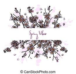 flor, horizontal, sakura, color, bandera, lleno