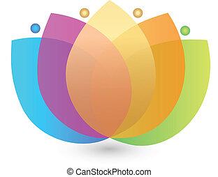 flor, multicolor, logotipo, loto
