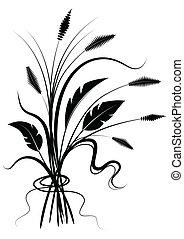 Flor negra silueta en blanco.
