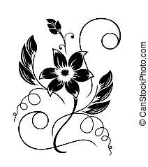 Flor negra, un patrón blanco