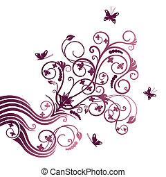 Flor púrpura y orna de mariposa