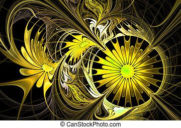 flor, palette., amarillo, fractal, fondo., negro, com, design.