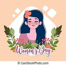 flor, pelo, womens, niña, hermoso, día, caricatura