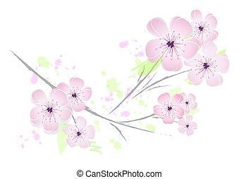 Flor rosada, diseño floral