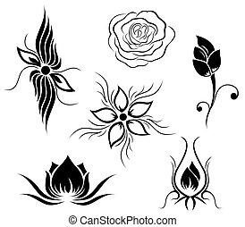 flor, tatuaje, patrón