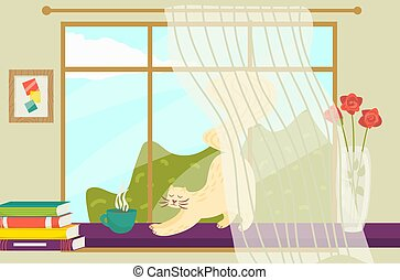 flor, vector, olla, mañana, libro, animal, piso, ventana, plano, white., aislado, estira, gato, techo, tiempo, ilustración, pila, solera, cómodo
