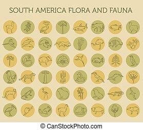 Flora plana de Sudamérica y elementos fauna. Animales, pájaros y la vida marina un icono de línea simple