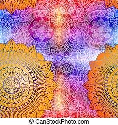 floral, étnico, patrón, seamless