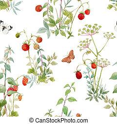 floral, berries., patrón, hermoso, plantas, acuarela, bosque, illustration., seamless, acción