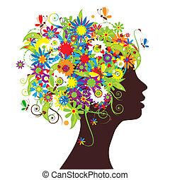 floral, cabeza, silueta