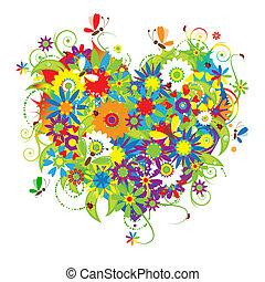 floral, corazón, amor, forma