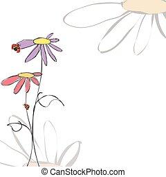 Floral de verano con maricones en blanco