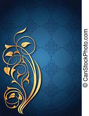 floral, dorado, azul, patrones