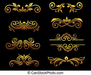 floral, dorado, fronteras, elementos, vendimia