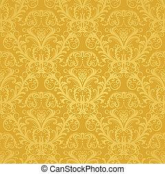 floral, dorado, papel pintado, lujo