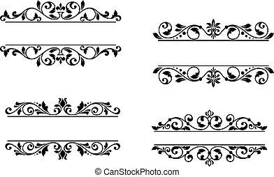 floral, encabezamiento, marco, elementos, retro