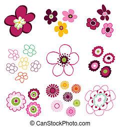 floral, flor, elementos