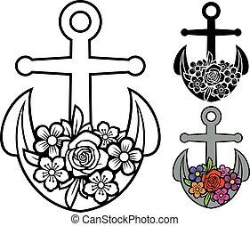 (floral, flourish), ancla, diseño, flores