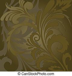 floral, fondo marrón