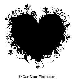 floral, forma corazón, diseño, su