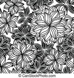 floral, garabato, seamless, patrón