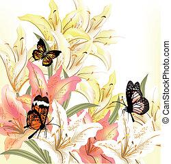 floral, grunge, fondo beige