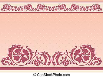 Floral horizontal en rosa